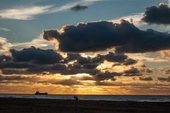 Sunset in Scheveningen, the Netherlands Royalty Free Stock Photography