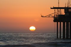 Sunset at Scripps Pier Stock Photos