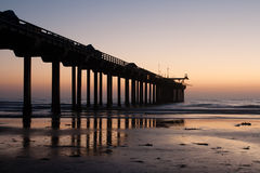 Sunset at Scripps Pier. Sky glowing red right after sunset at the Pacific Ocean, with the Scripps Pier at La Jolla in the foreground Royalty Free Stock Photography