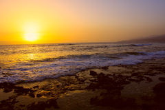 Sunset and sea. Gold sunset, ocean and beach. Nature landscape Stock Photography