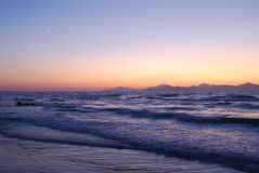 Sunset on the sea. Beautiful sunset on the Aegean sea with islands in the background Stock Photography