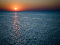 Sunset on the sea. Sunset at coast of the sea Royalty Free Stock Photo