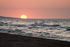 Sunset on a sea Stock Photography