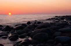 Sunset on the sea. Long exposure Stock Photography