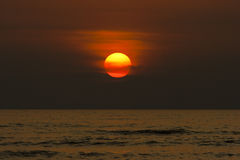 Sunset On The Sea. Scenic sunset on the sea in orange colour Royalty Free Stock Photography