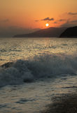 Sunset at Sea. Beautiful sunset orange sun in the sea stock photos
