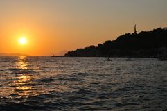 Sunset at sea in Podgora. Croatia Stock Photo
