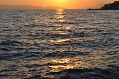 Sunset at adriatic sea. Podgora. Croatia Royalty Free Stock Image