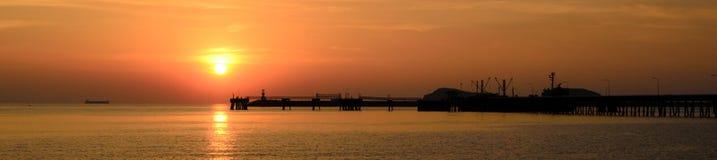 Sattahip Rayong, Thailand : Sunset in the sea. stock photos