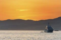 Luxury boat sunset Saint Tropez