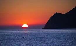 Sunset on sea. Sunset landscape at Alps Maritimes, Cinque Terre, Italy Stock Photos