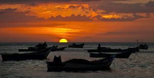 Sunset overt the Caribbean sea Royalty Free Stock Photo