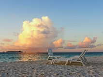 Sunset at the sea. A beautiful sunset from a maldivian beach Stock Photo