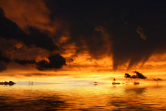 Sunset sea. Burning sky sunset over the sea Stock Images