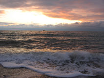 Sunset on sea. Sunset on Blask Sea, Ukraine royalty free stock image
