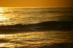 Sunset sea. Endless golden sunset over the sea with beautiful water lines royalty free stock images