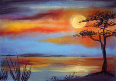 Sunset at the sea. Pastel painting, created by the photographer Royalty Free Stock Image