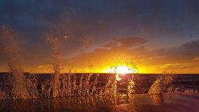 Sunset. In sea stock image