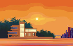 Sunset on the sea. Abstract image of a large, beautiful country house on a background of a modern metropolis. Luxury Villa on the seafront, surrounded by palm Stock Images