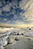 Sunset and sea, baltic Sea, winter time Royalty Free Stock Images