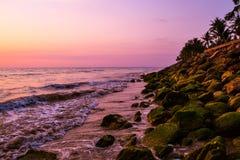 Sunset. Sea, the beach Stock Photos