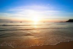 Sunset on the sea beach. Beautiful sunset on the sea beach Royalty Free Stock Photography