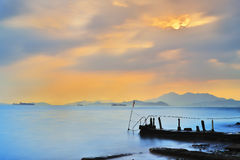 Sunset at a sea beach with beautiful sky Stock Images