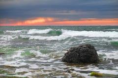 Sunset on a sea beach Royalty Free Stock Photos