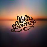 Sunset on the sea beach. Summer background with the inscription Hello summer vector illustration Stock Photos
