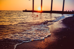 Sunset at the sea. Beautiful sunset at the sea Royalty Free Stock Image