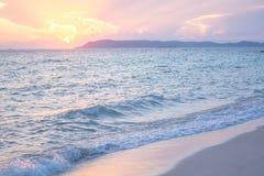Sunset sea. Beautiful Sunset at koh lan in Thailand Royalty Free Stock Photography