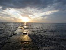Sunset at sea. Sunset on the black sea Royalty Free Stock Photo