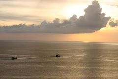 Sunset sea with boat. When sunset at phuket thailand Stock Images