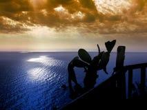 Sunset sea Capo Vaticano stock photo