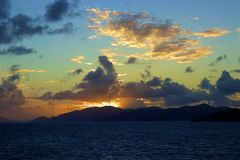 Sunset at sea, Caribbean. Beautiful  St Maarten sunset, Caribbean stock photography