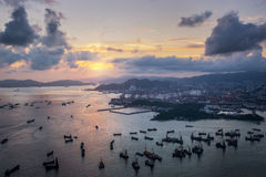 Sunset sea and cityscape Royalty Free Stock Image