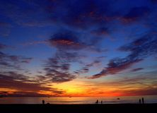 Sunset at the sea. With clouds Stock Photography