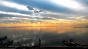 Beautiful sunset in yellow as background. Azerbaijan nature . The sunset, the sea and the clouds. Caspian Sea. Azerbaijan Baku royalty free stock photo