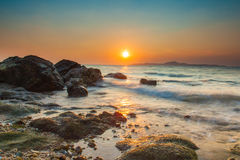 Sunset in a sea coast of Pattaya Royalty Free Stock Photo