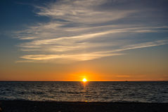 Sunset at the sea. Sunset at the sea with colorful clouds and gradient sky, Sochi, Russia Stock Photos