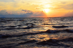 Sunset Sea. Dusk on adriatic sea Stock Photography