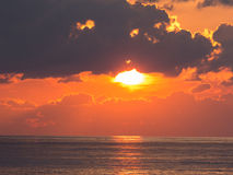 Sunset on the sea. Evening, beautiful sunset on the sea away from the shore stock photography