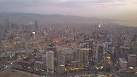 Sunset in the sea. Flying over Beirut Zaytunay bay marina and downtown. Drone aerial shot of Beirut, Lebanon, during sunset.
