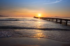 Sunset on the sea Footbridge royalty free stock photos