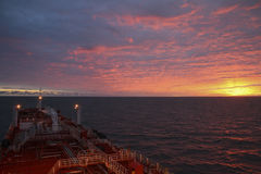 Sunset at sea from a fuel tanker Royalty Free Stock Image