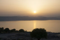 Sunset on the Sea of Galilee Royalty Free Stock Photos