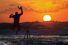 Sunset on the sea of Gaza city Stock Images