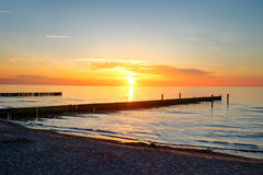 Sunset at the sea in Germany Stock Photo