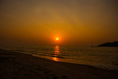 Sunset on the sea. Goa state, India. Royalty Free Stock Images