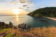 Sunset On The Sea at Had Hin Ngam (beautiful rok beach) Lanta Is Stock Image